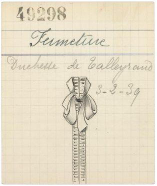 Pancarte d'un clip représentant un trompe-l'œil de fermeture éclair, prémisse de l'inspiration du Zip, 1938. © Van Cleef & Arpels