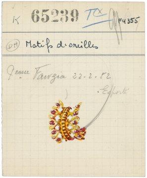 Pancarte de motifs d'oreilles Zip en or jaune, rubis et diamants , 1952. © Van Cleef & Arpels