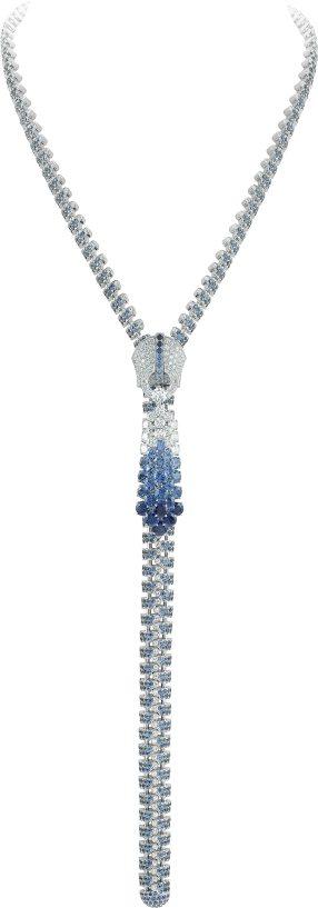 Collier Zip Couture Princesse en or blanc, diamants et saphirs, 2014.