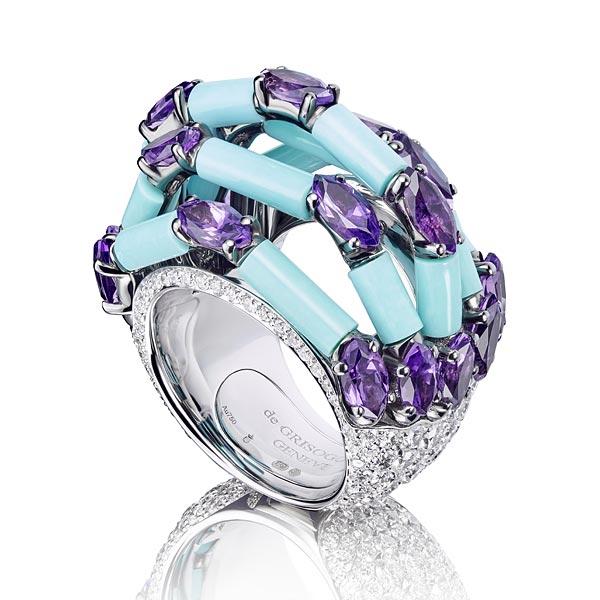 Bague en diamants, turquoises et améthystes, collection Melody of Colors