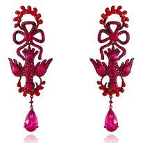 """Boucles d'oreilles """"Saint Esprit"""" en tourmalines rouges, rubis et or laqué rouge."""