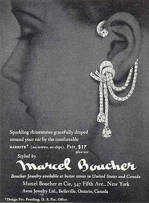 """Les rubans de strass de Marcel Boucher, inventeur de ces boucles d'oreilles célèbres sous le nom de """"Earrite"""" aux Etats-Unis."""