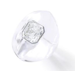 Bague en cristal de roche et diamant, 1958. Estimation : CHF 13,000 - 20,000
