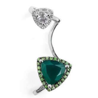 Ear cuff en or, tsavorite, agate, cristal et diamants, Runa