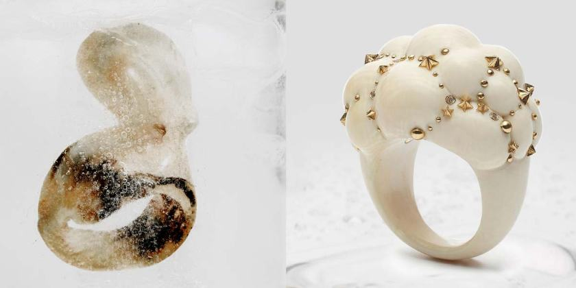 Octopus Ring en ivoire de mammouth fossilisé et or, Cloud Ring en ivoire de mammouth fossilisé, diamants et or © Rémy Lidereau pour Mise Au Jour
