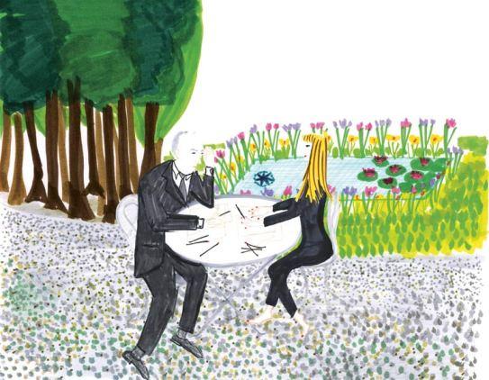 Facétieuse, Victoire de Castellane signe pour la collection Rose des Vents des croquis inédits, la mettant en scène aux côtés de Christian Dior. Ici, Victoire et Christian dans le jardin du couturier...