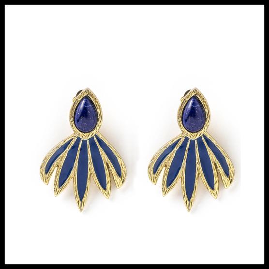Boucles d'oreilles Maya en émail et lapis-lazuli