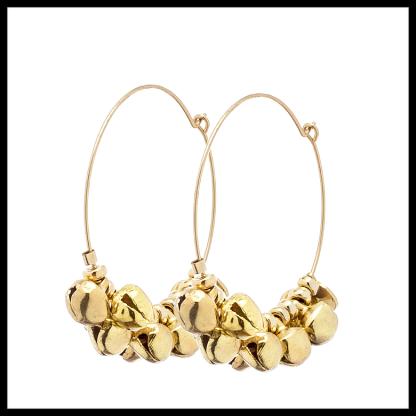 Boucles d'oreilles Jaipur en laiton doré à l'or fin