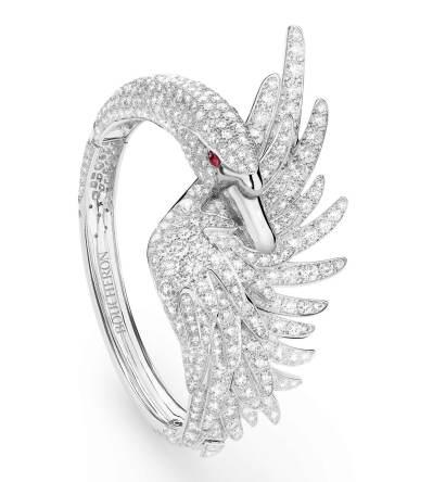 Bracelet Cypris le Cygne sur or blanc, pavé de diamants et deux rubis pour les yeux
