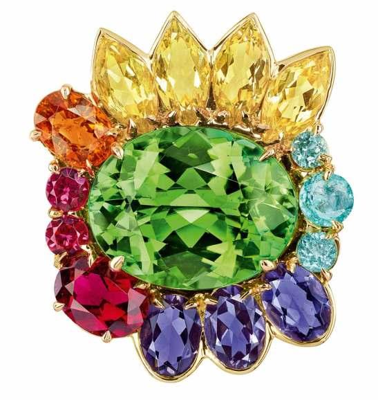 "Bague ""Granville"" en or jaune, diamants, tourmaline, béryls, iolites, grenat spessartite, rubellites, tourmalines, spinelles/"