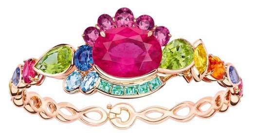 """Bracelet """"Granville"""" en or rose, diamants, tourmalines, spinelles, péridots, grenat, béryl, aigues-marines."""