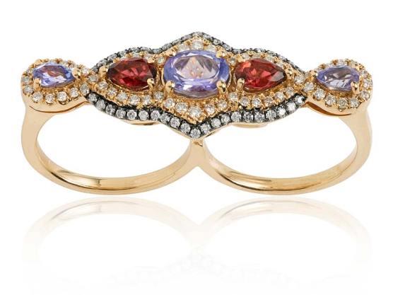 ELISE DRAY, bague deux doigts en diamants, tourmalines, rubis et or jaune et rhodié.