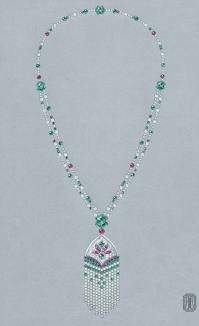 Collier Minstinguett en or, diamants, perles, rubis et émeraudes.