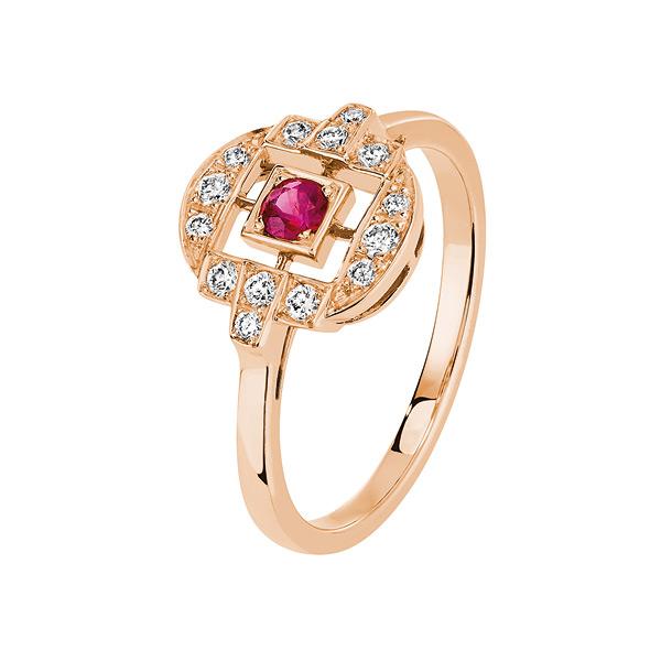 Bague Zelda en or rose, rubis et diamants