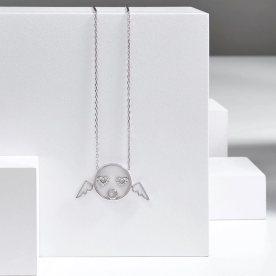 Collier Cupid, collection Visage Moyen en or blanc et diamants