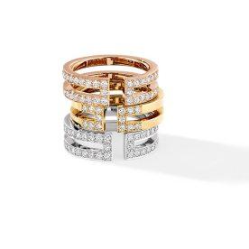 Bague Ariane en ors rose, jaune et blanc et diamants