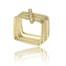 Bague Square en or jaune et diamants.
