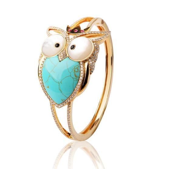 Bracelet Prince Hibou en or, diamants, rubis, nacre, turquoise et onyx
